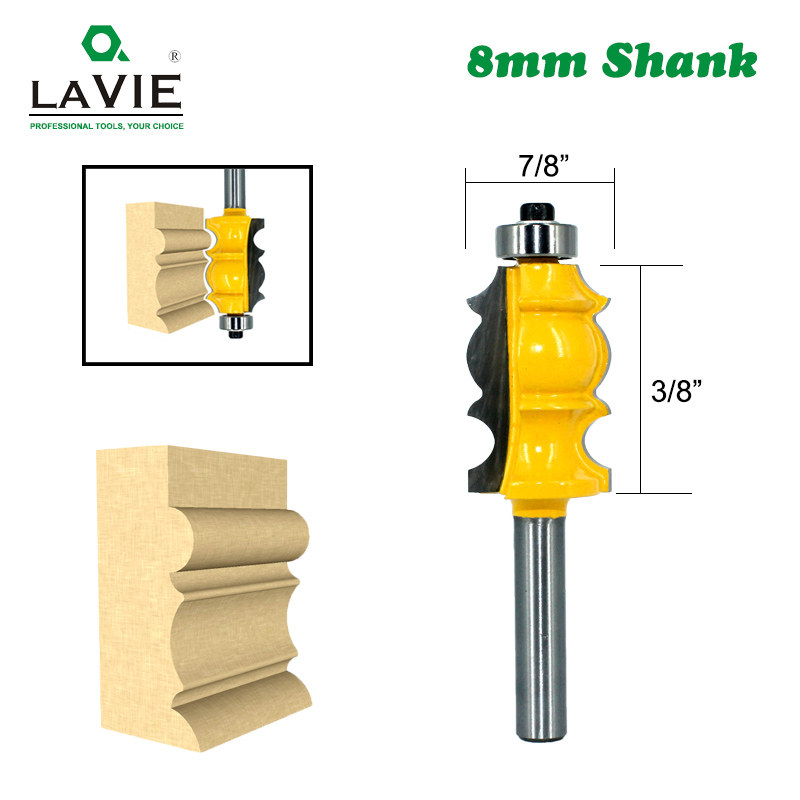 LAVIE 1pc 8mm Shank Special Moulding Handrail Wood Router Bit Woodworking Milling Cutter For Wood Machine Tools MC02078