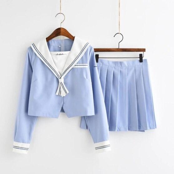 Japanese Freah Blue Sailor Suit Female Student Girls Plaid Dress Uniform School Uniform JK Uniform College Style Sweet Cute Suit