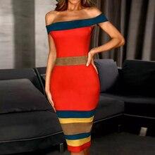 Adyce nowy lato bandaża sukni kobiety Vestidos 2020 Sexy Slash Neck krótkie bez rękawów Off ramię Celebrity wieczór sukienek