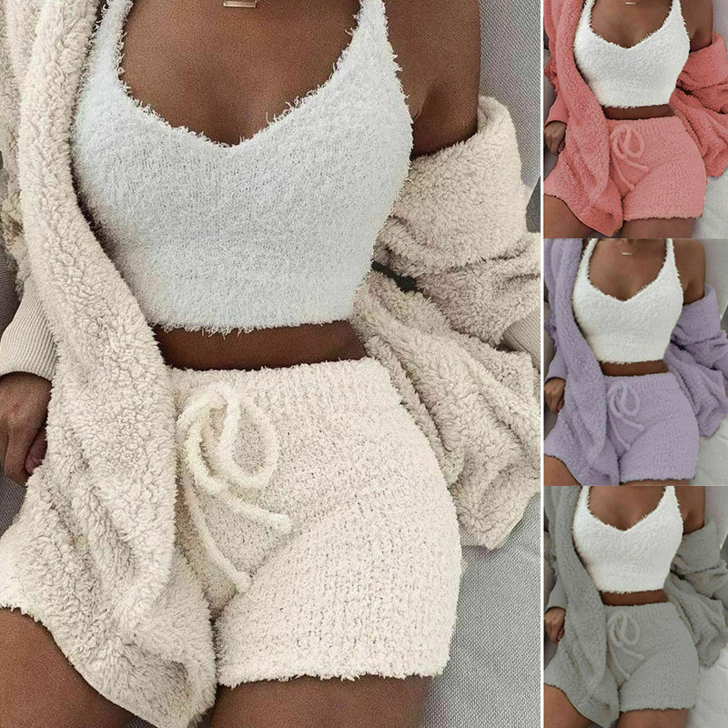 Fluffy Hooded Long Sleeves Coat Open Front Teddy Shorts Vest Set For Women Winter IK88