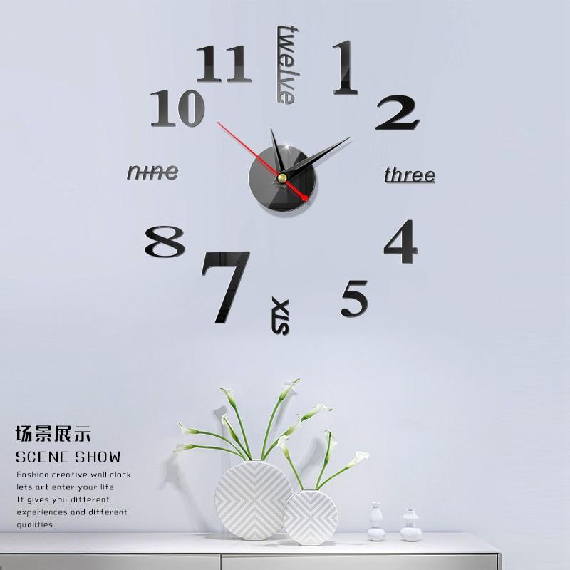 DIY modern adhesive wall 3D clock stickers decorative clocks machinery clock mechanism room decorative Multicolor optional