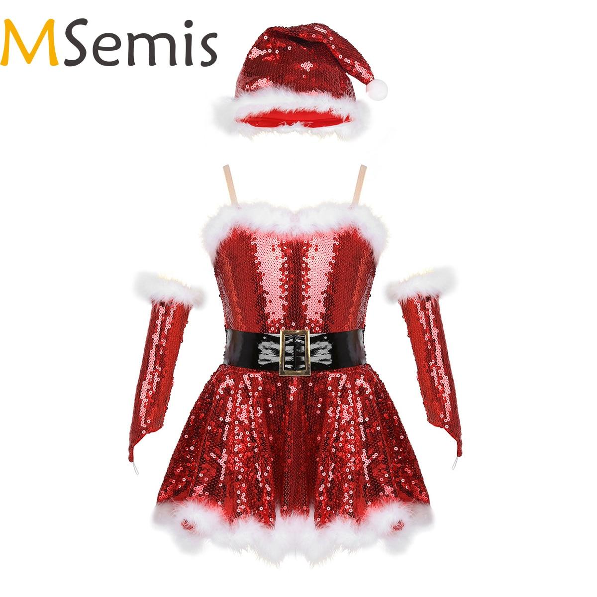 MSemis Kids Girls Christmas Santa Dance Costume Sequins Figure Skating Dress Ballerina Modern Dance Leotard Dress With Hat