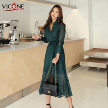 цена на VICONE Women Autumn  Long Sleeve Lace Dress Beach Vintage Maxi Patchwork Vintage Dresses Boho Casual Belt  Dress Robe Femme