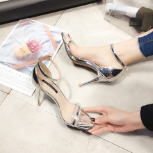 Купить с кэшбэком Women 8cm High Heels Sandals Transparent Sandals Silver/Champagne Spring/Summer Female Shoes Casual Lady Shoes Woman Footwear