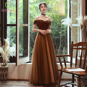 SSYFashion New Vintage Coffee Color Evening Dress Boat Neck Sequins Beading Floor-length Long Formal Gowns Vestidos De Noche