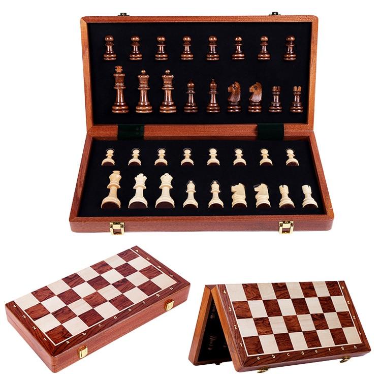 Alta qualidade de madeira dobrável grande conjunto xadrez rei alta 78mm handwork peças madeira maciça nogueira xadrez crianças jogo tabuleiro