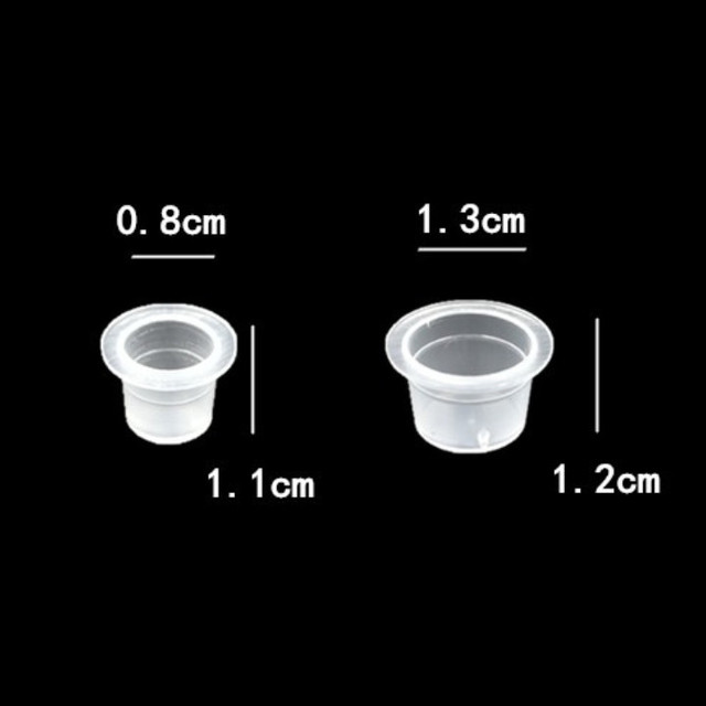 100pc S/M Permanent Makeup Pigment Clear Holder Container Cap Plastic Disposable Microblading Tattoo Ink Cups Tattoo Accessory 2