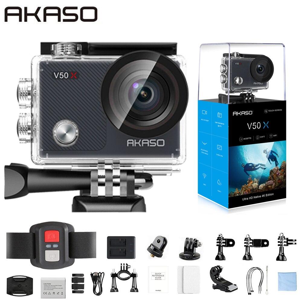 AKASO V50X WiFi Action Camera Nativa 4K30fps Esporte Câmera com Tela Sensível Ao Toque de EIS Ajustável Ângulo de Visão de 131 metros Da Câmera À Prova D' Água