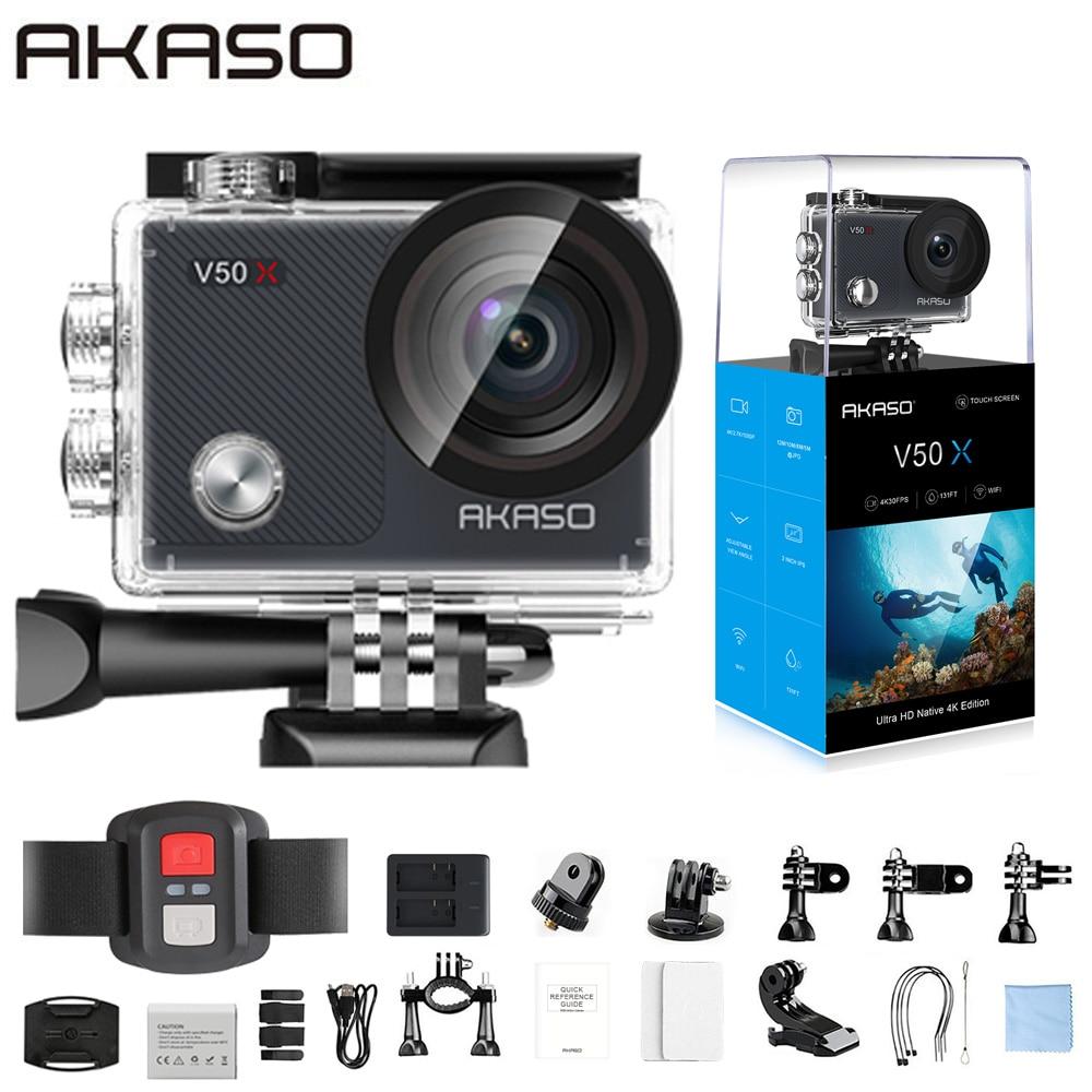 Экшн-камера AKASO V50X, Wi-Fi, 4 k30fps, Спортивная камера с сенсорным экраном EIS, регулируемый угол обзора, водонепроницаемая камера 131 фута