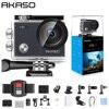 AKASO V50X WiFi 액션 카메라 네이티브 4K30fps 스포츠 카메라와 EIS 터치 스크린 조정 가능한 각도 131 피트 방수 카메라