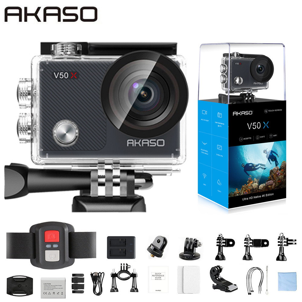 AKASO V50X WiFi Action Camera Native 4K30fps Sport Camera with EIS Touch Screen Adjustable View Angle 131 feet Waterproof Camera title=