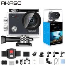 AKASO V50X kamera akcji WiFi natywna kamera sportowa 4K30fps z ekranem dotykowym EIS regulowany kąt widzenia 131 stóp wodoodporna kamera