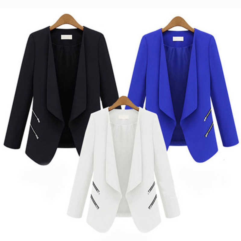 ZOGAA Women Suit Blazer Lady Office Casual Thin Cardigan Coat Solid Slim Fit Jacket with Pocket Elegant Long Sleeve Women Blazer