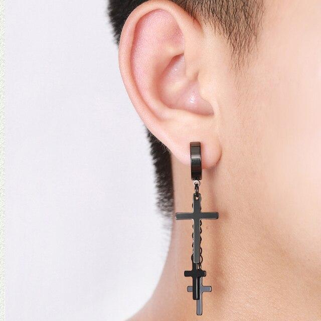 1Pc New Design Punk Earrings Cross Pendant Dangle Long Drop Chain Tassel Titanium Steel Women Men Jewelry Charms Hanging
