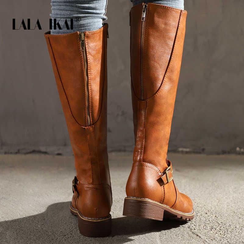 LALA IKAI kadın orta buzağı botları PU deri sonbahar kış ayakkabı kadın motosiklet botları su geçirmez sıcak siyah binici çizmeleri A7901-4