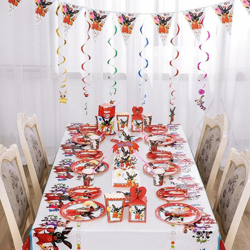 Кролика вечерние посуда одноразовые дребезжащие День рождения вечерние украшения поставки Бумага пластина Бумага чашки скатерть торт Топпер|Украшения своими руками для вечеринки|   | АлиЭкспресс