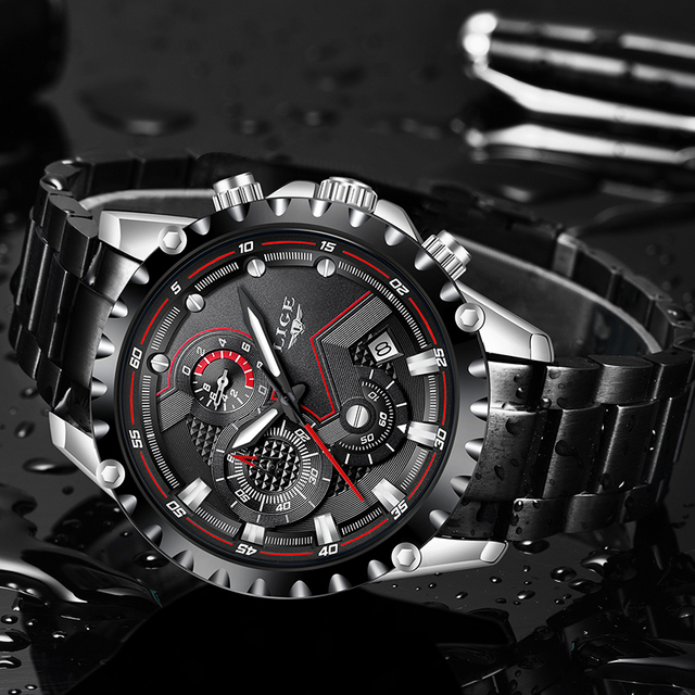 LIGE Waterproof Quartz Steel Army Military Watch 3