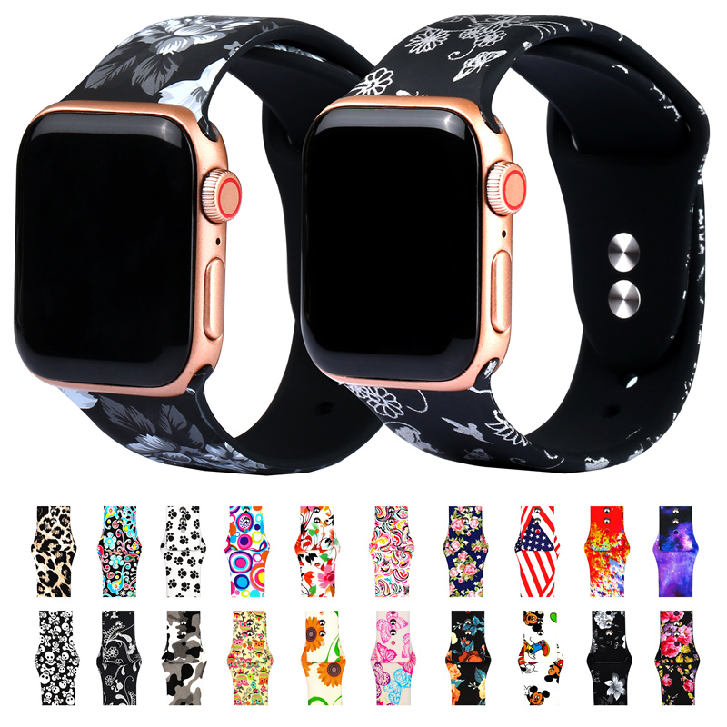 Compatible With Apple Watch Band 38mm 40mm 42mm 44mm Fadeless Pattern Printed Bands For IWatch Band Strap Series 5/4/3 81023
