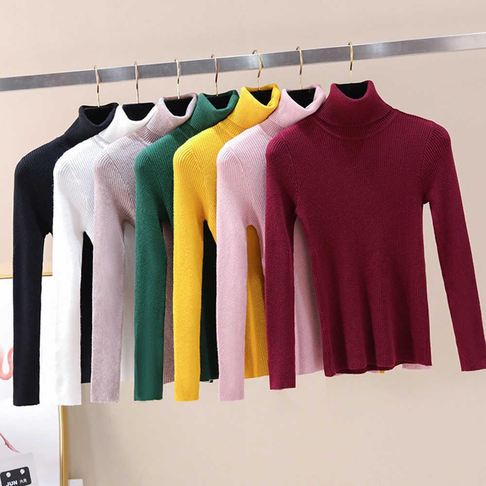 2020 outono inverno feminino camisola de gola alta de malha macio polo-pescoço jumper moda magro femme elasticidade pullovers
