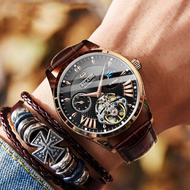 AILANG جودة توربيون ساعة رجالي الرجال التلقائي السويسري الديزل الساعات رجل مضيئة مقاوم للماء الغوص الميكانيكية Steampunk ساعة