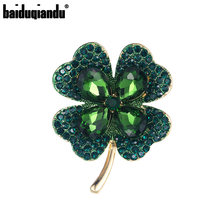 baiduqiandu New Arrival Green or Red Crystal Rhinestones Leaf Plant Brooch Pins Jewelry for Women