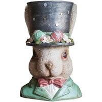 European Resin Rabbit Flower Pot Ornaments Outdoor Garden Balcony Figurines Home Livingroom TV Cabinet Furnishing Decor A721