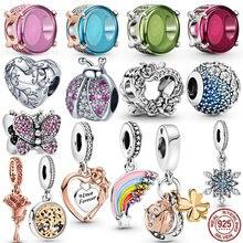 2021 новый 925 пробы серебро с открытым сердцем розой, с украшением в виде цветка, драгоценные бусины, подходят к оригинальным браслетам Pandora, бр...