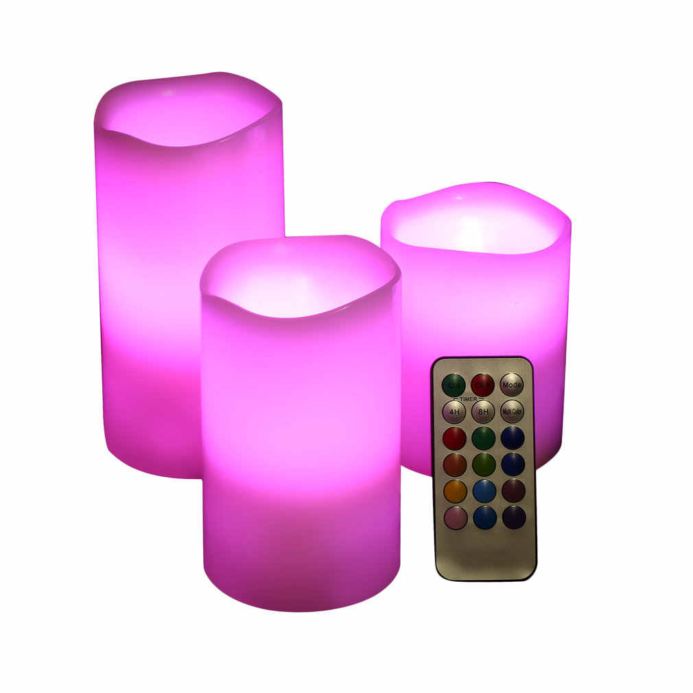 Wireless Remote Control Paraffin Candle Operated LED Flameless Candles 3 Sizes
