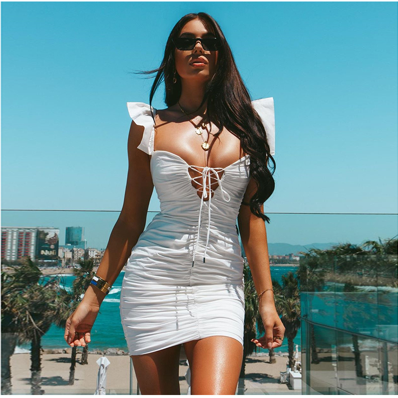 Image 2 - NewAsia 2019 White Summer Dress Women Butterfly Sleeve Deep V neck Cut Out Lace Up Ruched Sexy Dress Mini Elastic Bodycon Dress-in Dresses from Women's Clothing