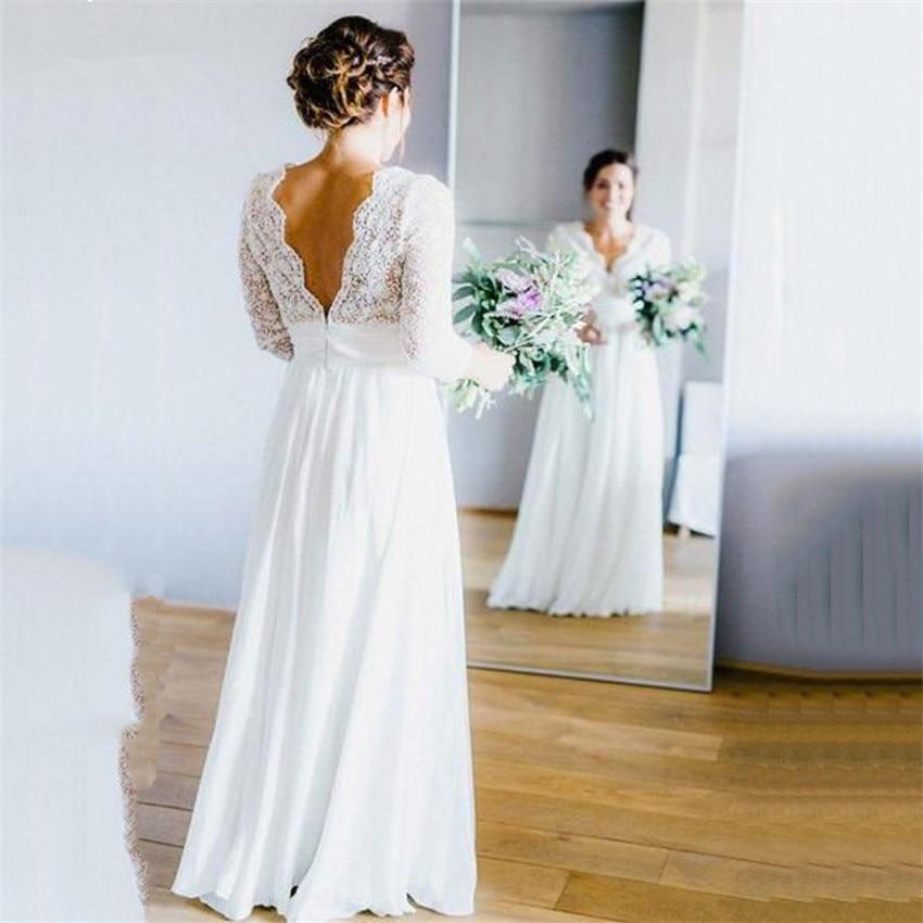 Elegant Chiffon Boho Wedding Dresses Deep V-neck 3/4 Sleeves Backless Beach Wedding Gowns Bride Dresses Vestido De Novia