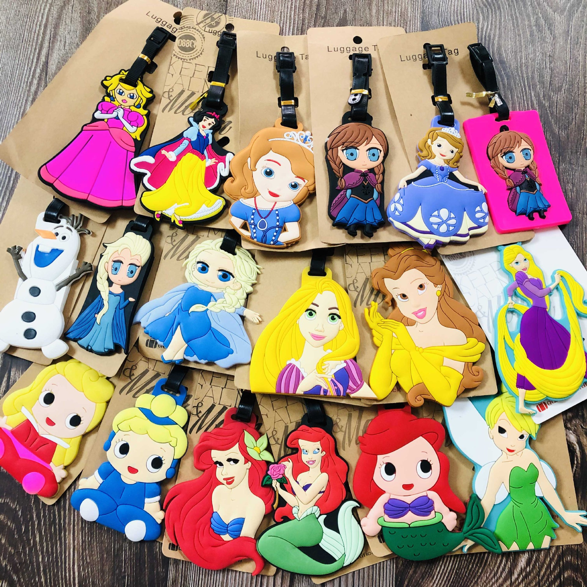 Snow White Princess Cartoon Bag Accessories Luggage Tag Suitcase ID Address Portable Tags Holder Baggage Travel Labels
