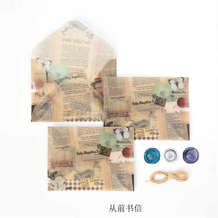 3pc Retro Flower Letter Vintage Rose Plant Beautiful Material Envelope Message Letter Storage Paper With 3 Seal Pastes+Hemp Rope