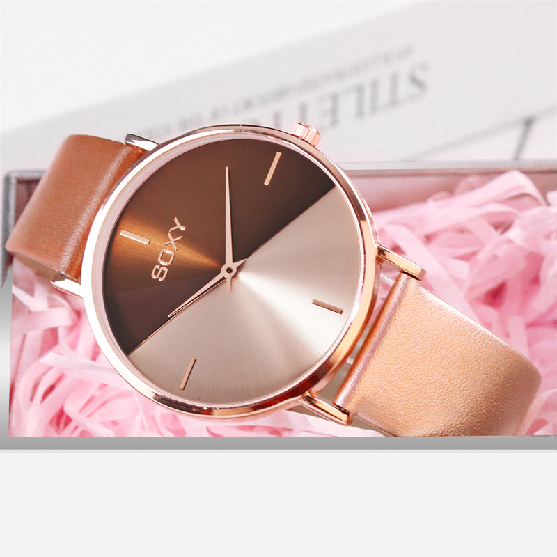 top brand women's watch leather rose gold dress female clock luxury brand design women watches simple fashion ladies watch CLOVER JEWELLERY