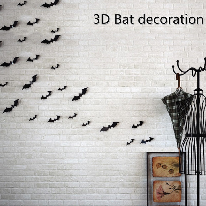 H9ead0f7a05804dabb263de488395b492k - 12pcs/set Halloween Decoration 3D Bat Decoration Wall Sticker DIY Room Wall Decals Home Party Decor for Halloween Wall Stickers