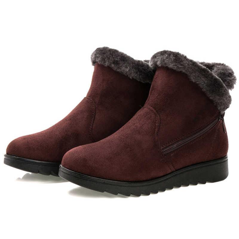 Moda bayan botları sıcak tutmak kış çizmeler klasik fermuar kar yarım çizmeler kadınlar için kış süet sıcak kürk peluş kadın ayakkabı