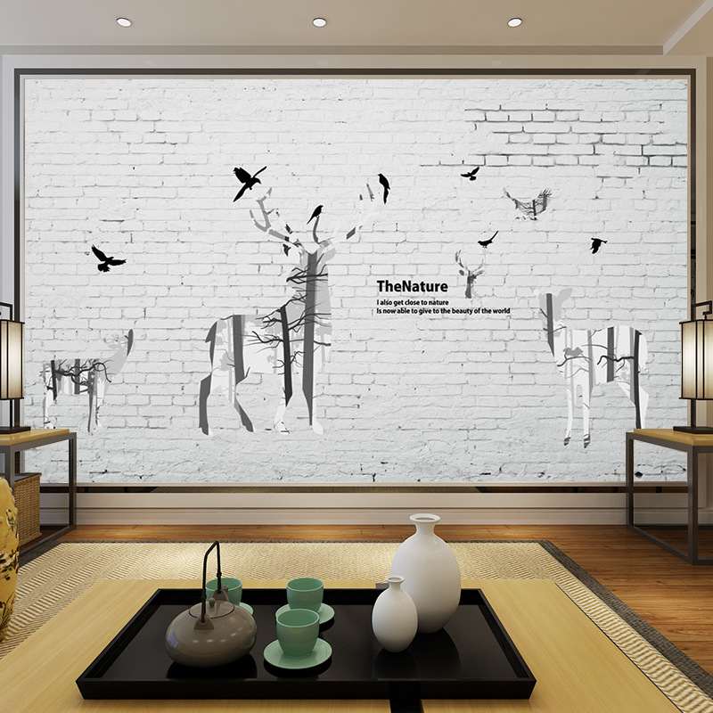 3D Northern European-Style Brick Wall Hand-Painted Elk Modern-Style Wall Living Room Sofa Bedroom TV Background Wallpaper