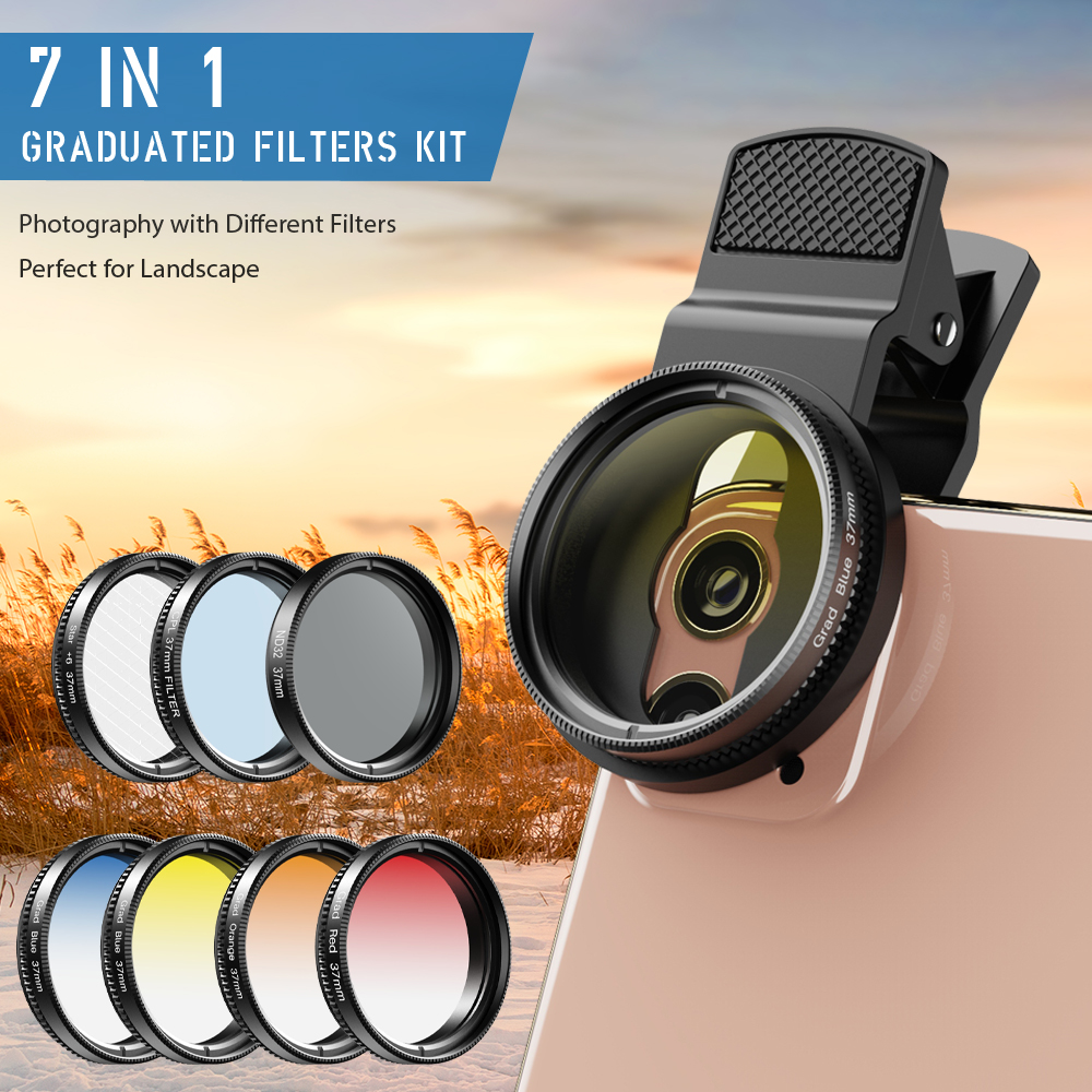 APEXEL Universal 7in1 Phone Lens Kit 37mm Graduate Red Blue Yellow Filters With CPL ND/Star Filters For iPhone Most Smartphones