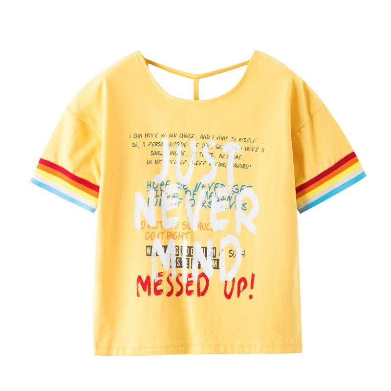 Kids Shirts Tops Yellow Clothing Short-Sleeve Printed Cotton Children's Girls Letters