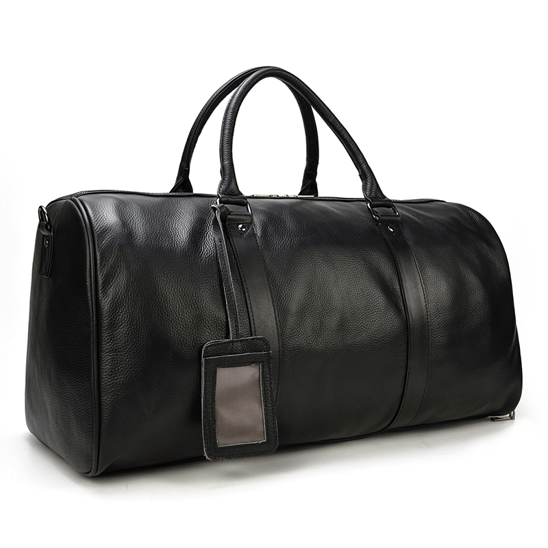 Big Capacity Genuine Leather Travel Bag Men Women Soft Black Fold Casual Travel Duffel Big Capacity Cow Leather Shoulder Bag