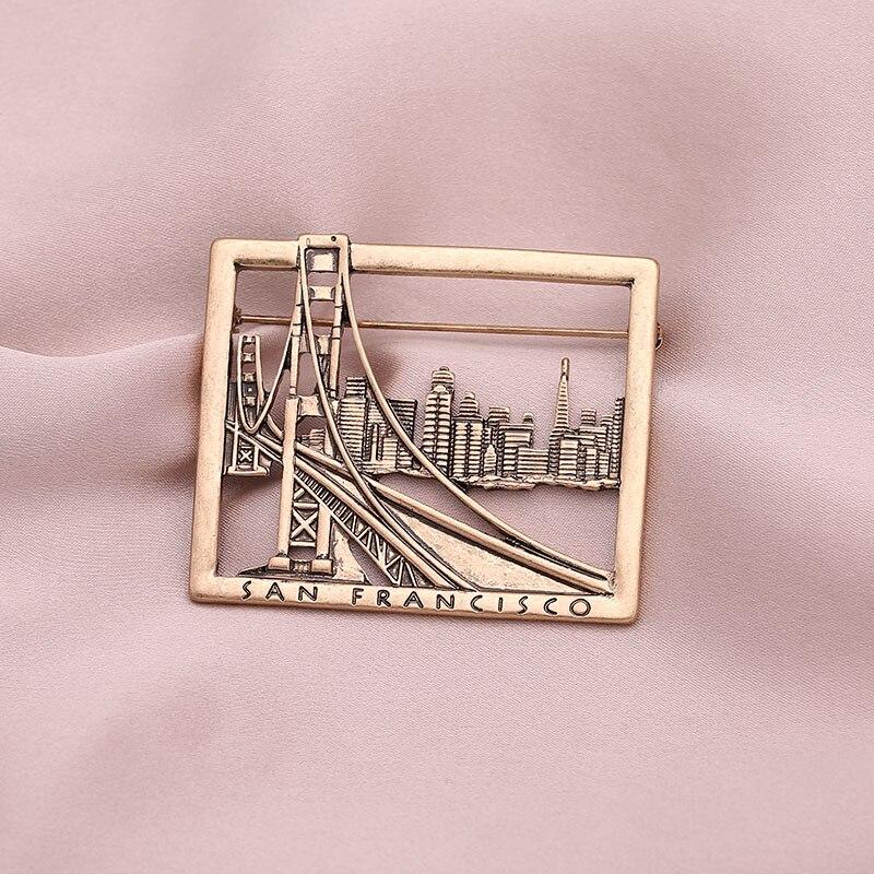 Винтажная брошь серебряного цвета с высоким зданием мостом Сан Франциско, булавка, модная брошь в виде города, аксессуары для сумки, одежды, ювелирные изделия|Броши|   | АлиЭкспресс