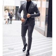 New Classy Gray Wedding Tuxedos Notch Lapel Two Button Mens Suits Slim Fit  Prom Best Man Groomsmen Blazer Pants Terno Masculino
