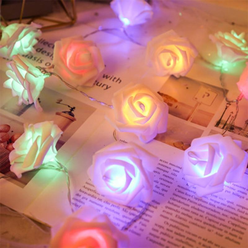 Holiday AA Battery LED Rose Christmas Light Festival Light String Valentine's Day Wedding Decoration Lantern Home Decor New Year