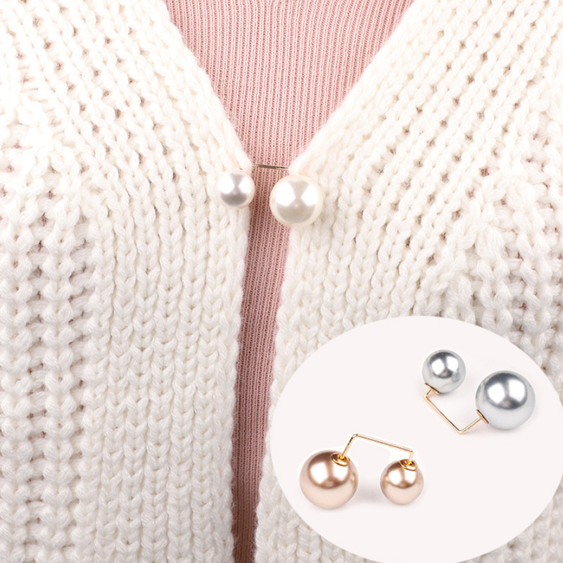 Модные двойные жемчужные булавки для женщин, дизайнерские женские броши, аксессуары для одежды, вязаная рубашка с искусственным жемчугом, о...