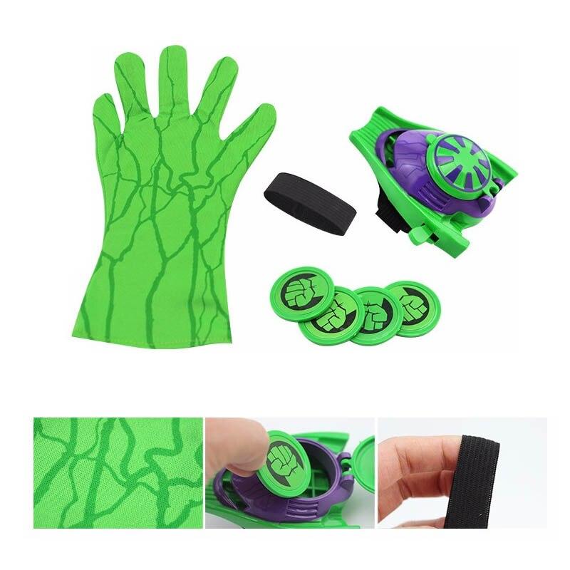 5 стилей ПВХ 24 см Бэтмен перчатка Фигурка Человека-паука пусковая игрушка для детей подходит Человек-паук косплей игрушки - Цвет: Hulk Launcher