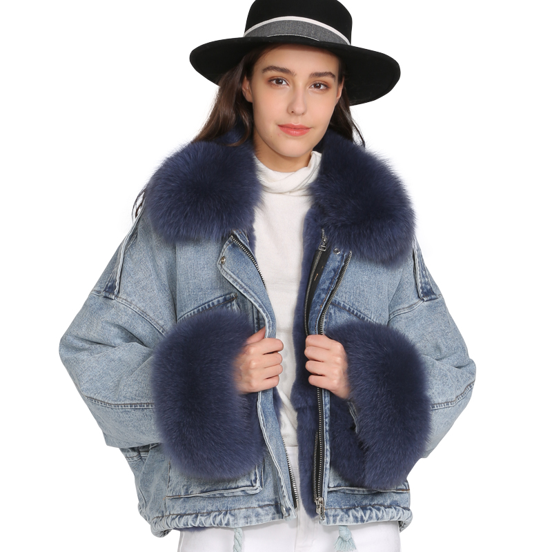 Jacket Parka Short Fox-Collar Real-Fur-Coat Streetwear Natural Winter Women Warm Thick