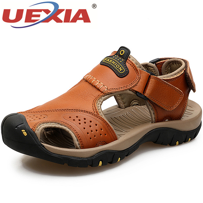 UEXIA Male Shoes Leather Men Sandals Hook & Loop Walking Gentleman Beach Sandals Sandales Hommes Fashion Outdoor Casual Sneakers