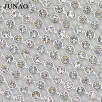 JUNAO 45*120cm Silver Hotfix Rhinestones Trim Fabric Clear Glass Strass Crystal Aluminum Mesh Bridal Beaded Applique
