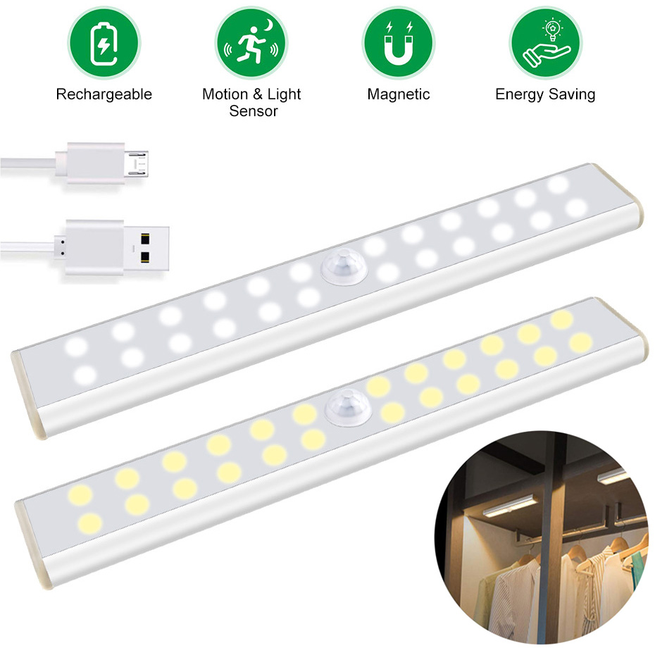 LED Closet Light USB Rechargeable PIR Motion Sensor LED Under Cabinet Light 24 40 60 LEDs Kitchen Lamp For Wardrobe Room