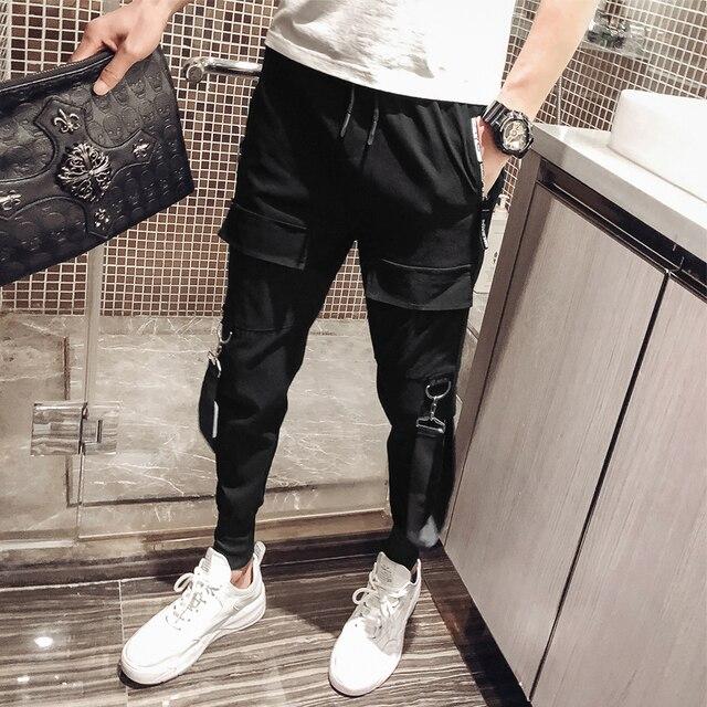 2019 Men Streetwear Pants Black Harem Pants Light Men Punk Pants Ribbons Casual Slim Jogger Pants Men Hip Hop Trousers LBZ138 34