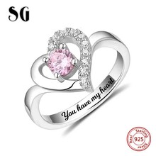 925 Sterling Silver Personalized Classic Heart Shaped Engraved Name & Birthstone Ring Custom Jewelry Mother's Day